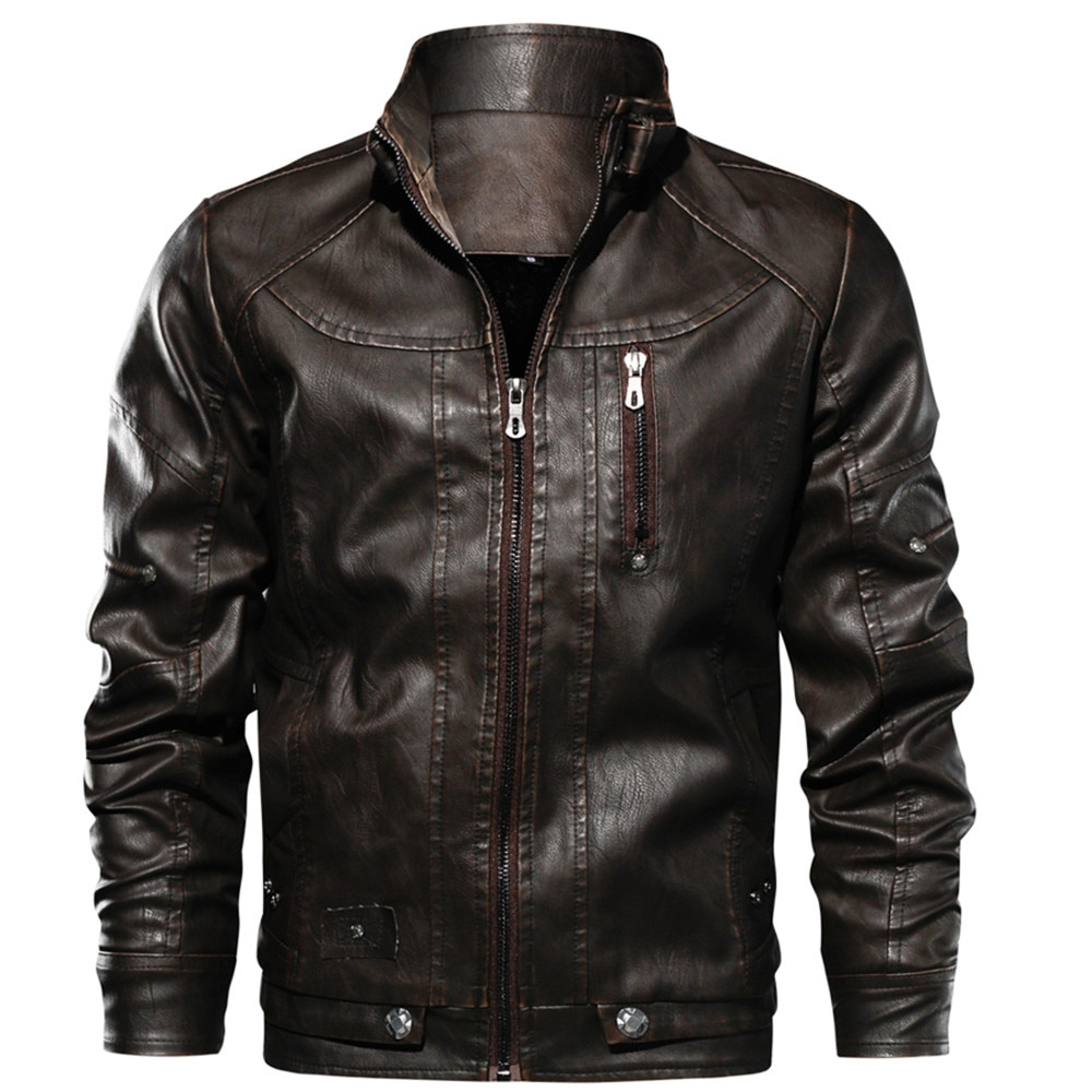 Real Leather Rider Jacket Men's Slim Cool Stand Collar Casual Outwear Coat Windbreaker Warm Genuine Leather Jacket Drop Shipping