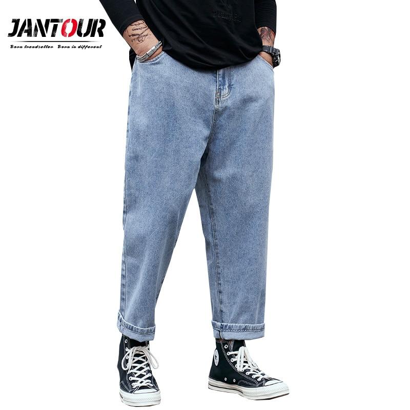 جينز رجالي بقصة فضفاضة ، بنطلون جينز مستقيم ، أرجل واسعة ، ماركة ملابس ، 29-46 48