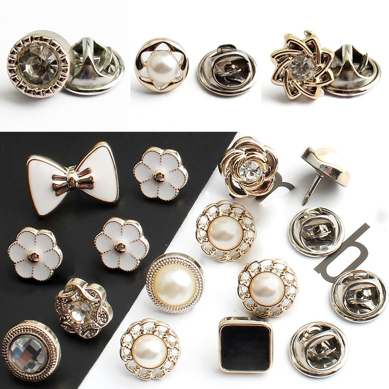6Pcs Imitation Pearl Button Brooch For Women Elegant Small Metal Pins Buckle Detachable Adjustable Clothing Crafts DIY Clothes