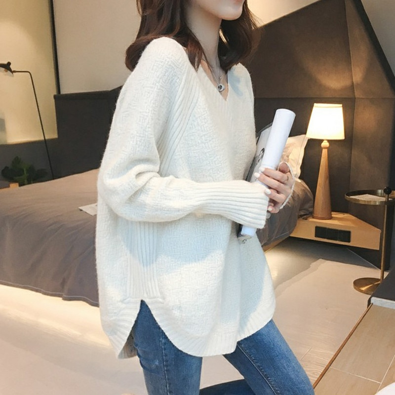 Autumn and Winter Female Student V-neck Split T-shirt Loose Niche Sweater Casual Knitted Shirt plus