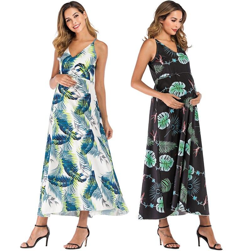Vestidos de maternidad de manga corta para mujer embarazada, vestido de verano con estampado Floral, Sexy, para playa y embarazo