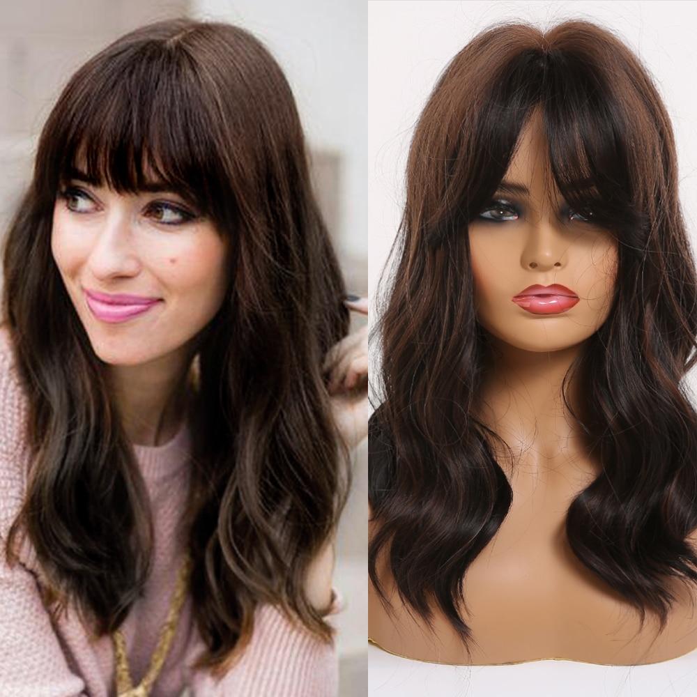 Easihair perucas sintéticas de comprimento médio marrom escuro para mulher natural ondulado perucas com destaques na moda resistente ao calor peruca diária