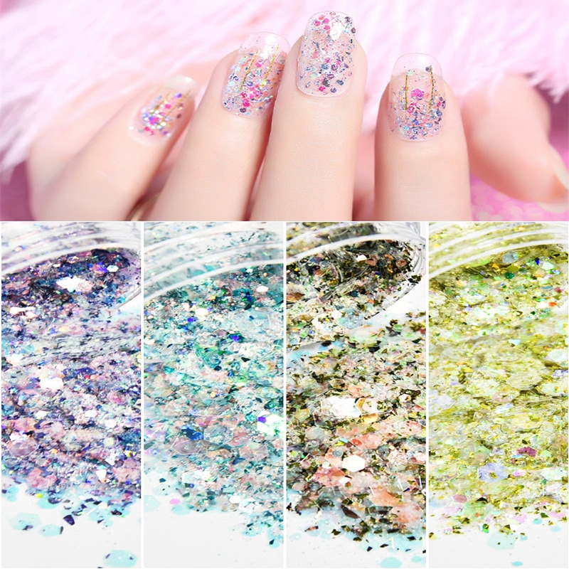 50g/bag Laser Nail Glitter Mermaid Sparkly Colorful Shinny Sequins For Art Decoration Irregular Paillette Tips