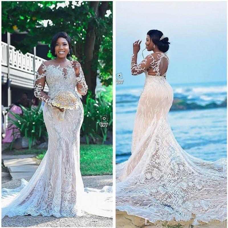 Роскошные кружевные Африканские свадебные платья с бисером, прозрачные Свадебные платья русалки с длинным рукавом, винтажные