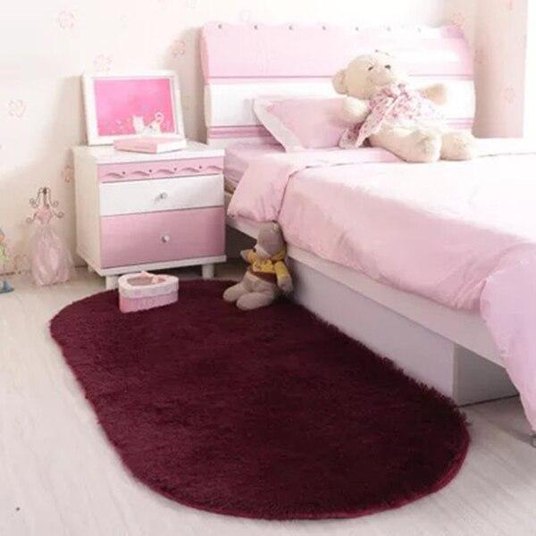 Solid Color Oval Washable Floor 40*60cm carpet Mats for Home Living Room Rug Bedroom Bed Front blanket Coffee Table Blanket