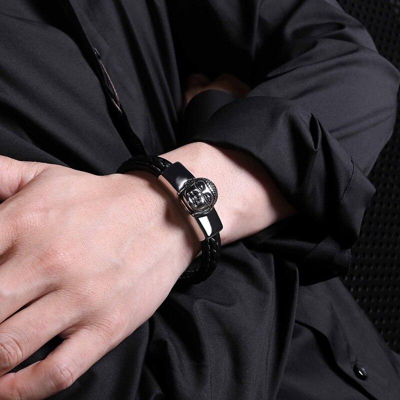 MOZO Fashion Bangle Male Charm Bracelets Punk Black  Leather Stainless Steel Clasps Men Religion Jewelry PS2059