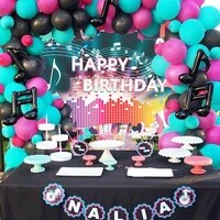 birthday music theme party supplies balloon garland party decoration for boys and grils with 180x110cm party background