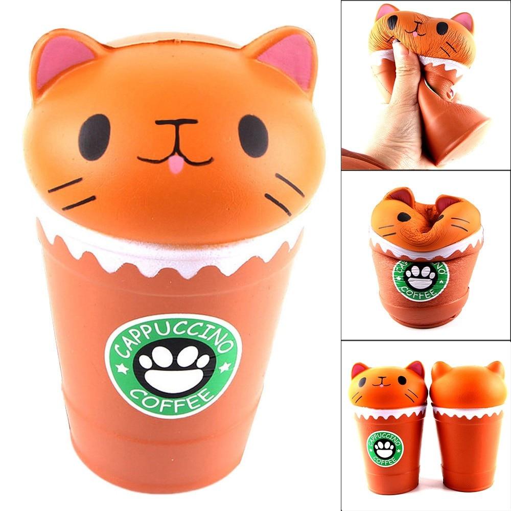 Taza de café capuchino cortada de 14cm, juguete perfumado para apretar de forma lenta con Gato, juguetes de descompresión divertidos, regalo de curación de colección