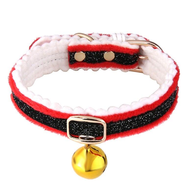 Lindo Gato Collar de perro Navidad oro Collar campana tamaño ajustable de tela perro gato Collar de corbata, suministros para mascotas