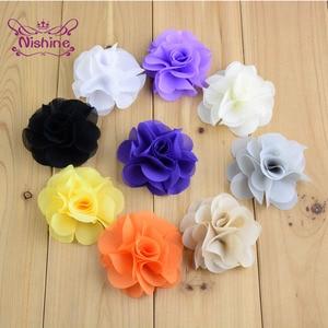 20pcs/lot Boutique Handmade Chiffon Flowers Accessories for DIY Wedding Bouquet Children Headband Clothing Making Photo Props