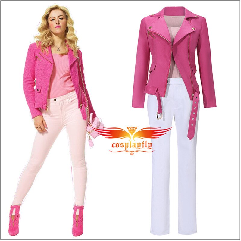 Movie Mean Girl Regina George Cosplay Costume Adult Men Women Uniform Cloth Suits Top Pants Rose Pink Mini Jacket Gloves
