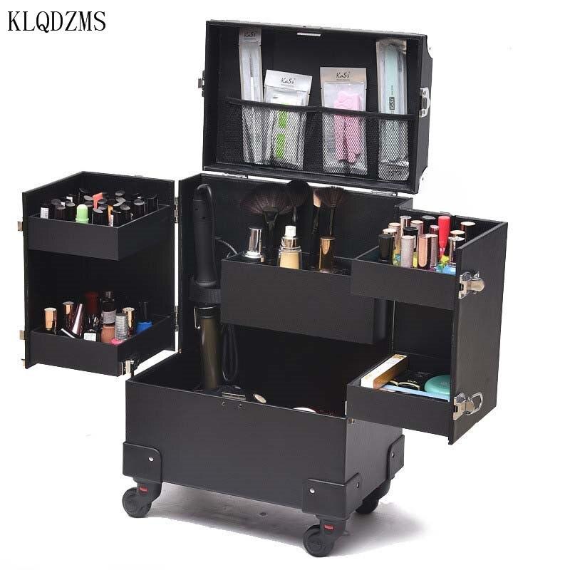 KLQDZMS-علبة مستحضرات تجميل نسائية ذات سعة كبيرة ، حقيبة مكياج مبتكرة ، جمال الأظافر ، صندوق أدوات المكياج ، أمتعة بعجلات قابلة للطي