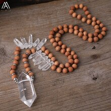 Quartz blanc naturel Double Point pendentif 8mm parfumé bois de santal perles de prière noeud à la main collier femmes Yoga bijoux 32 pouces