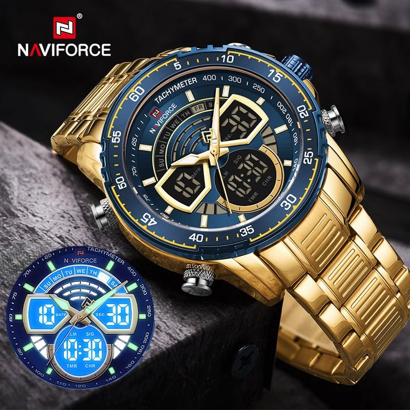 NAVIFORCE Men's Military Sports Waterproof Watches Luxury Analog Quartz Digital Wrist Watch for Men Stainless Steel Gold Watches