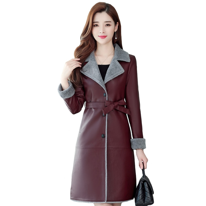 Women Leather Fur Jacket Winter Autumn Fur Leather Jacket With Belt Long Fur Leather Coat Female Warm Outerwear female costume emberens 4217 striped handsome casual with belt autumn winter российское production delivery from russia