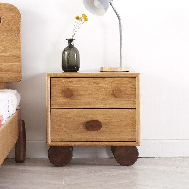 Mesita de noche de madera sólida nórdica k-star para niños, estante de dibujos animados, mueble de noche para niños y niñas, gabinete de almacenamiento para habitación sencillo