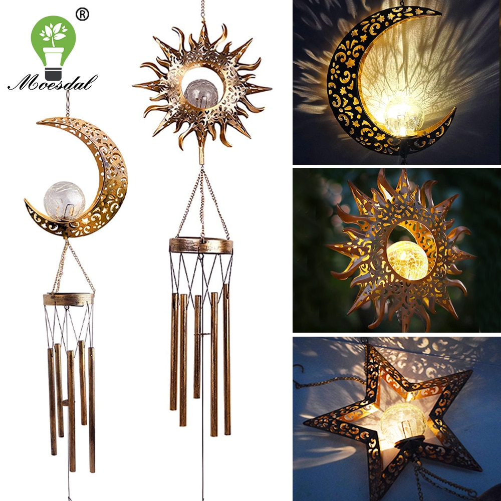 Solar Wind Chime Lamp Outdoor Waterproof Hanging Light Moon Star Sun Shape Suitable for Holiday Party Garden Street Decoration