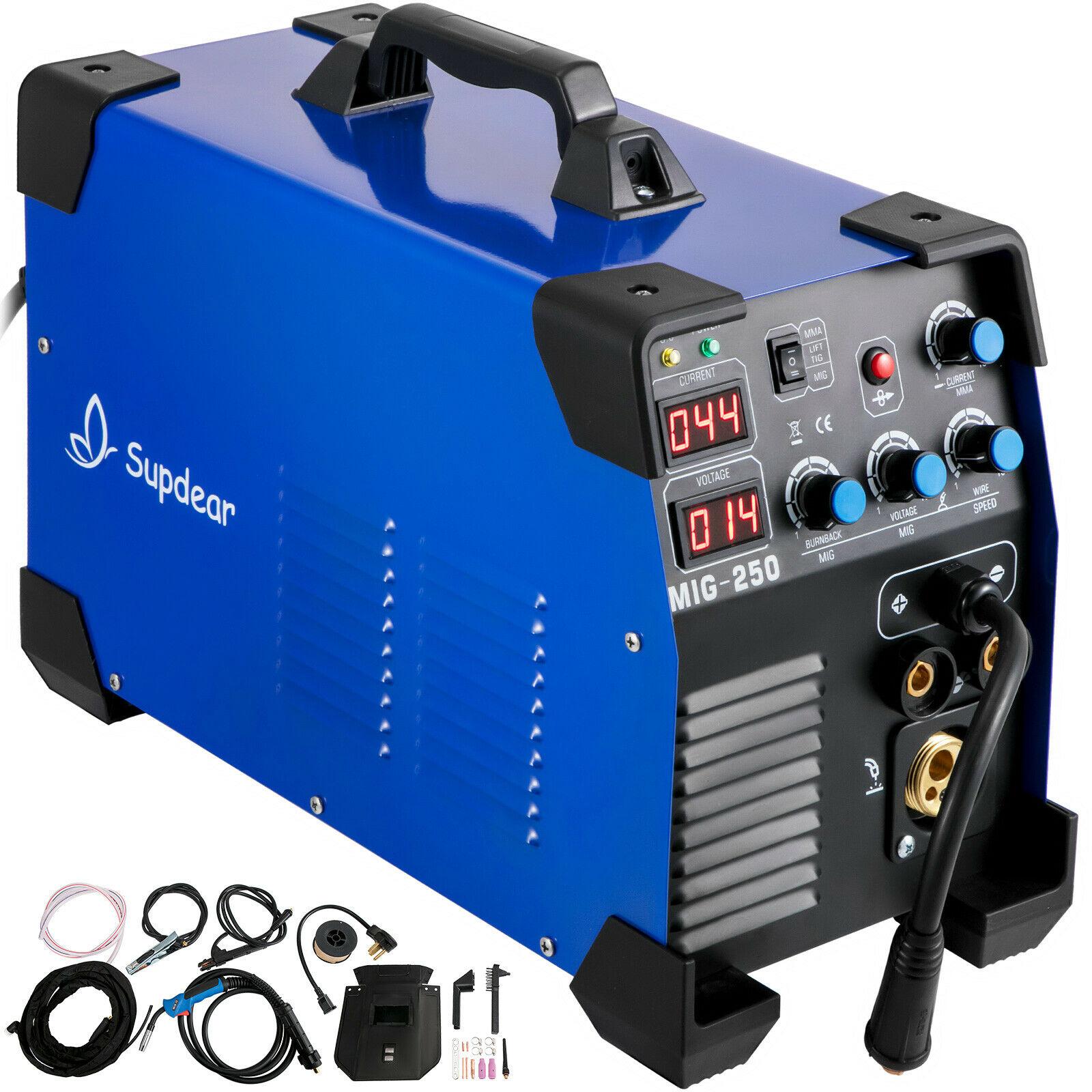 Welder 250 Amp MIG TIG Arc Welder 3 in 1 Welder Welding Machine 220V/110V TIG  Lift ARC  MMA Stick IGBT DC Inverter Dual voltage