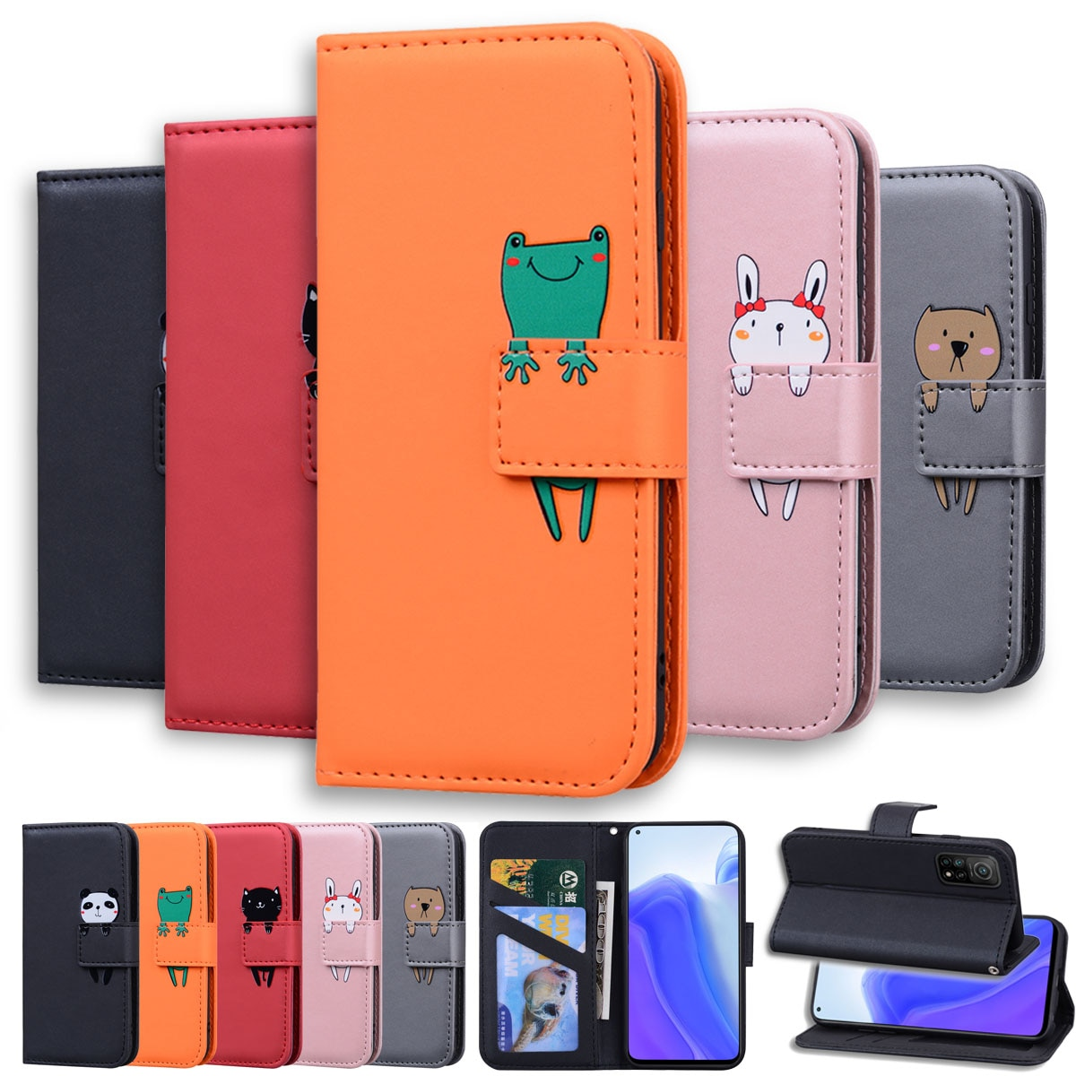 Lovely Animal Flip Leather Phone Case For Xiaomi POCO X3 NFC Redmi Note 9 9S 9A 9C 7 8 8T 7A 8A Mi 1