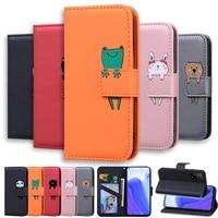 Кожаный чехол-книжка с изображением животных для Samsung Galaxy A01 A11 A21 A21S A31 A41 A42 A51 A71 A10 A20 A30 A40 A50 A70