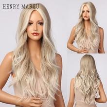 Parrucche sintetiche bionde platino ondulate lunghe HENRY MARGU evidenzia parrucche per donne bianche parrucche Cosplay parte centrale resistenti al calore