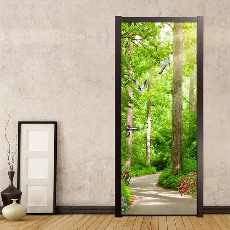 Etiqueta engomada de la puerta 3D autoadhesiva de la impresión del paisaje del bosque de la paloma de la foto de la etiqueta de la decoración del hogar para el cartel del arte impermeable del PVC del dormitorio
