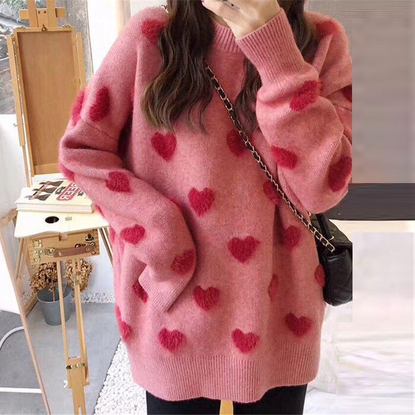 Женский свободный пуловер с длинным рукавом, красный трикотажный джемпер в стиле ретро с круглым вырезом и сердечками, Осень-зима 2021