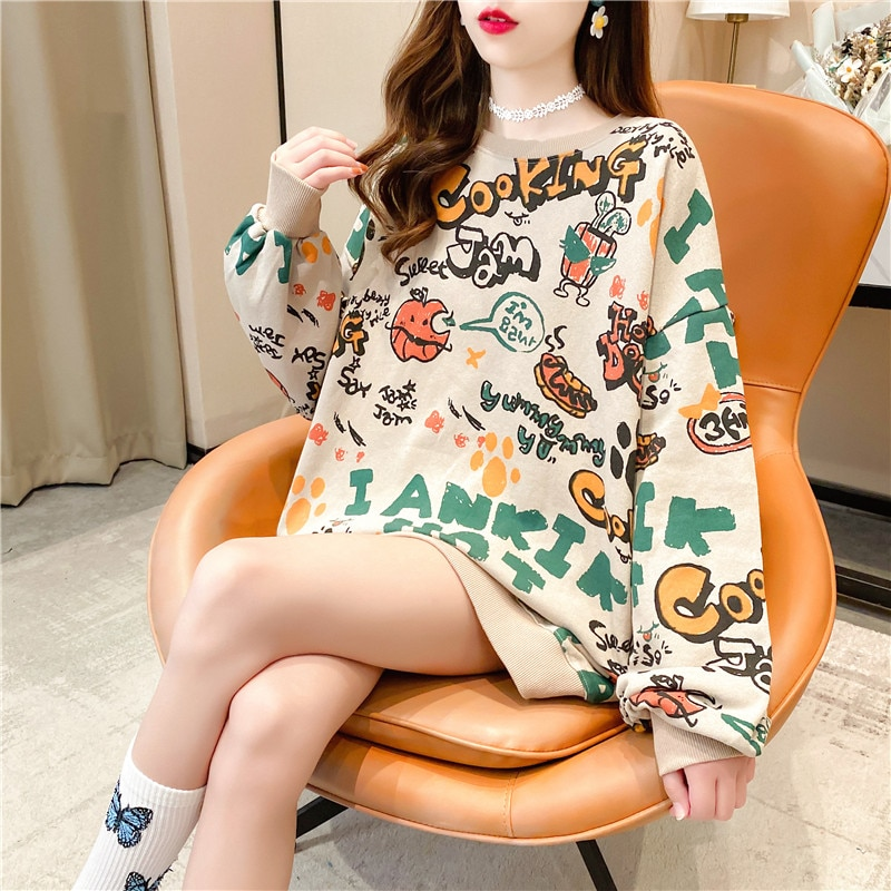 INS Hong Kong Fashion Brand Fleece-Lined Thick round Neck Sweater Female BF Idle Style Loose Pullove