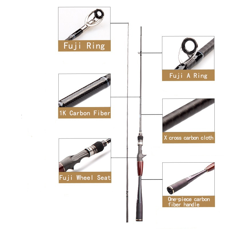 KAWA Fishing Carbon Fiber Rod Two Sections Fast Rod Fuji Seat and Ring Lure Casting And Spinning Rod  High Quality Free Shipping enlarge