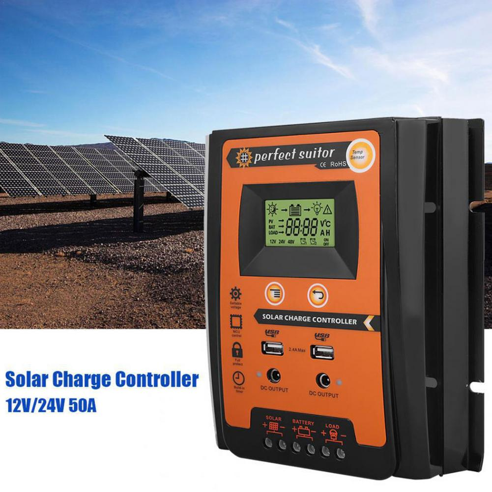 شاحن بالطاقة الشمسية تحكم 12 فولت 24 فولت شاشة الكريستال السائل المزدوج USB مخرجات لوحة طاقة شمسية لوحة خلايا شاحن التفريغ منظم دروبشيبينغ