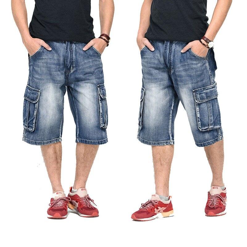 Denim Shorts 2020 Summer Modis Multi-Pocket Mens Blue Streetwear Loose Large Size Straight