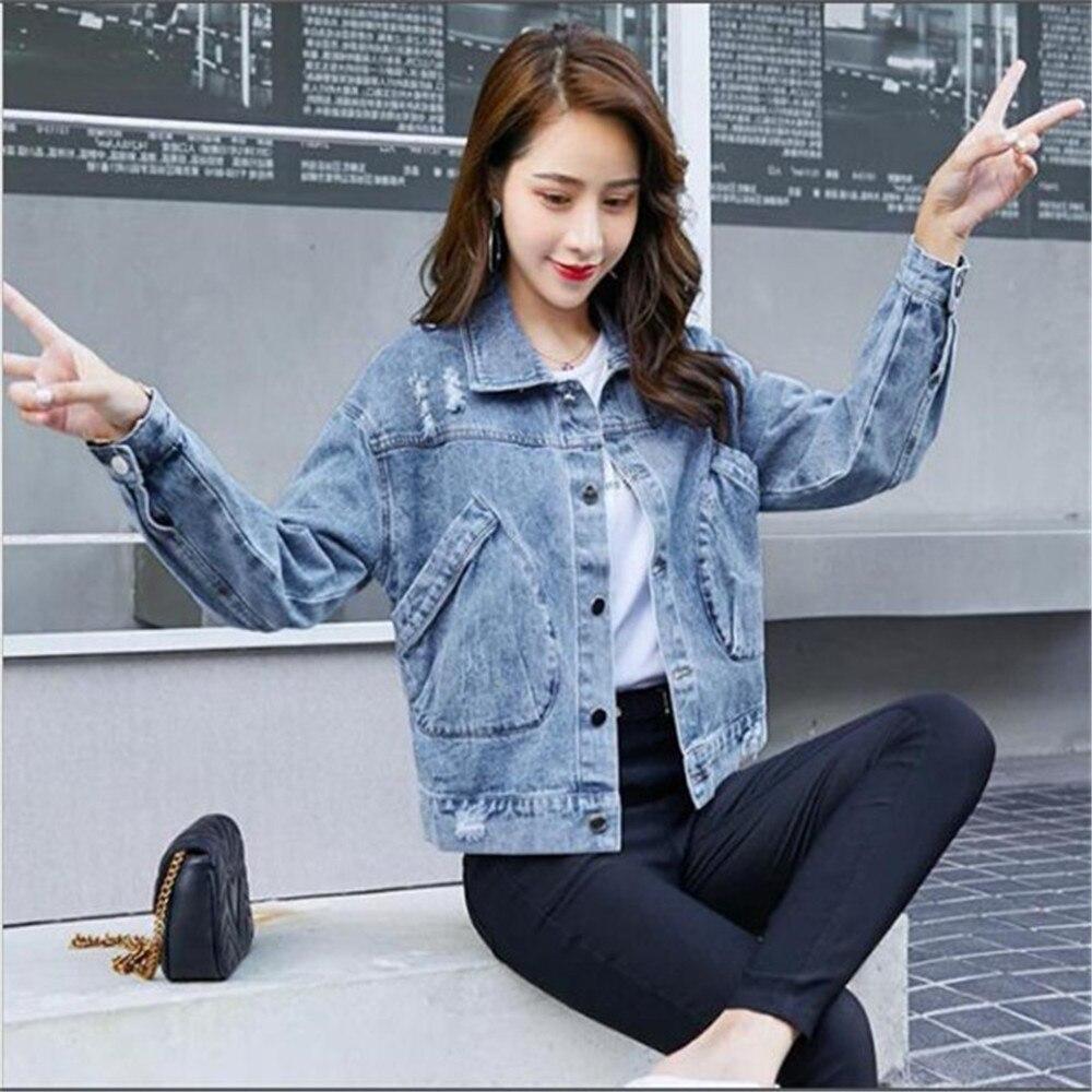 Женская джинсовая куртка, Короткая свободная куртка из денима в студенческом стиле, верхняя одежда из тонкой джинсовой ткани, весна 2021
