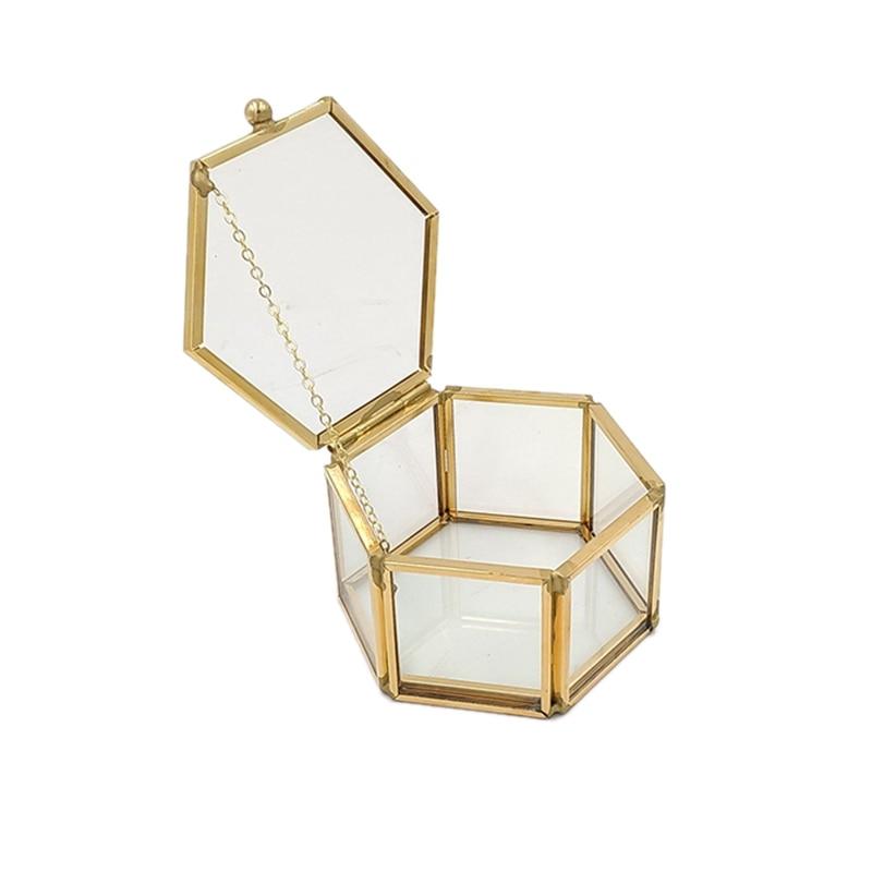Hexagon Transparent Glass Ring Box Wedding Ring Box Geometric Clear Glass Jewelry Box Jewelry Organizer Holder Tabletop Containe