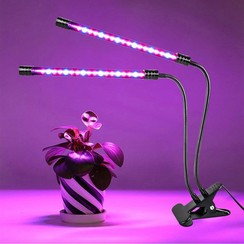 Luz LED de espectro completo, lámpara Phyto alimentada por USB con Clip DC5V, iluminación de crecimiento de plantas de escritorio para lámpara de cultivo de flores de interior
