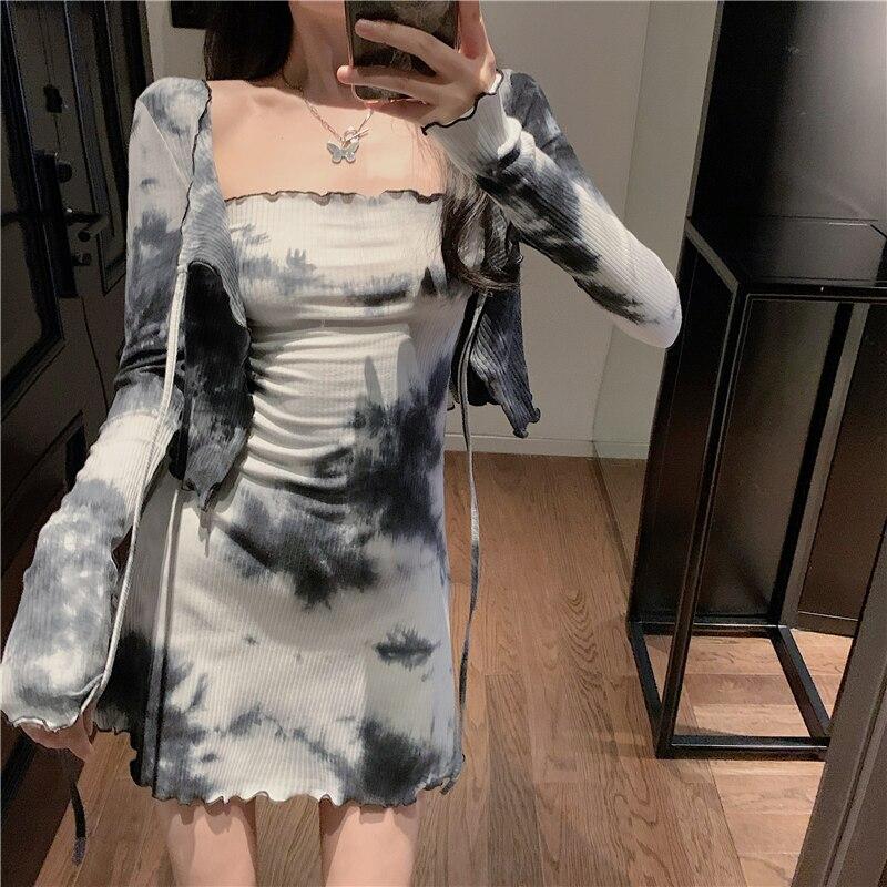 Casual Fashion Set 2020 nian Season New Style Female Tie-Waist Hugging Slim Fit Tube Top Dress Long-