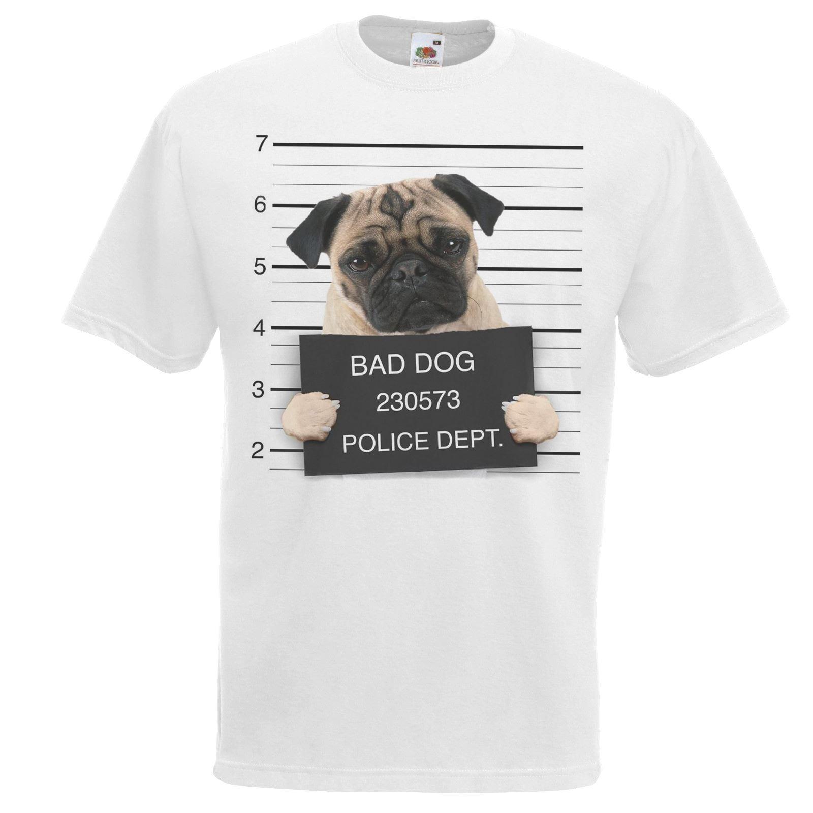 New 2019 Fashion Hot Fashion T Shirt Brand White Dog Mugshot Cute Pug Puggle T-Shirt Criminal K9 Company T Shirts