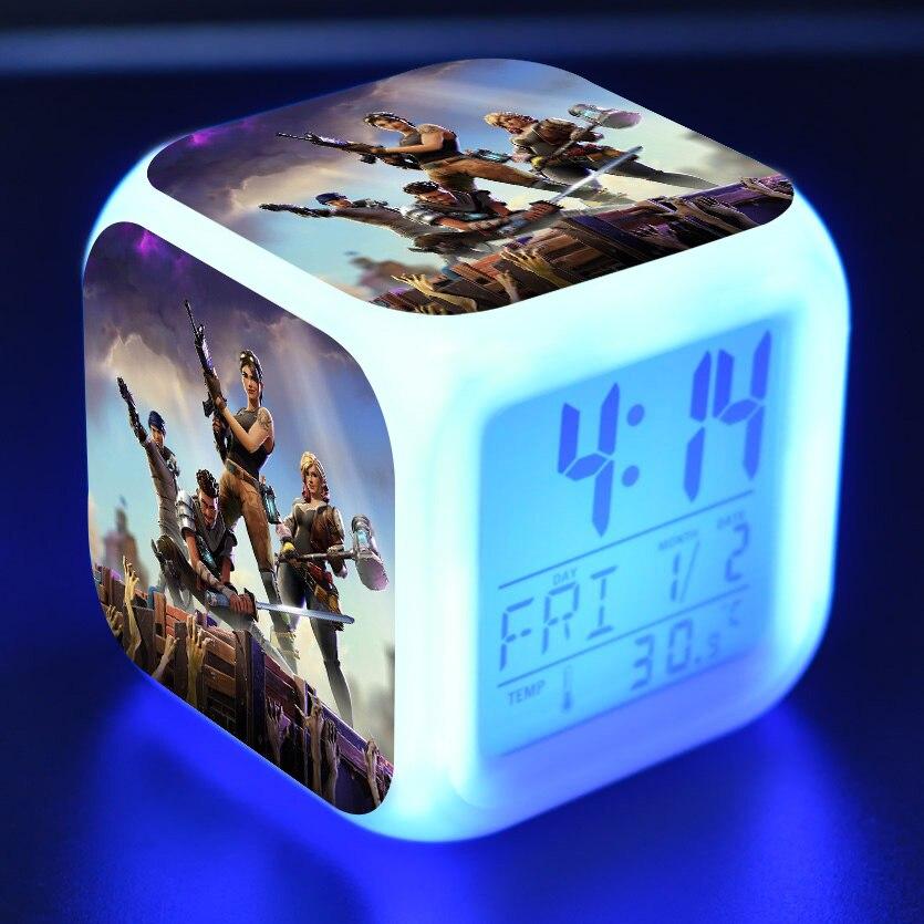 Fortnites LED de alarma de reloj colorido Flash luz Figurines de película figuras de acción de juguete para niños, regalo de Navidad