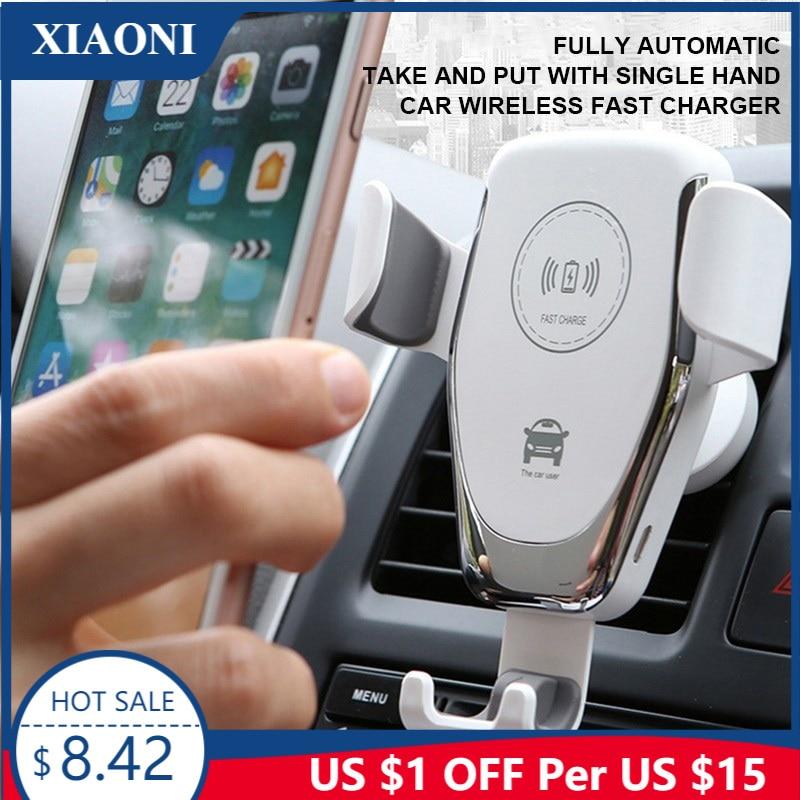 شاحن سيارة لاسلكي QI 10W ، لهاتف Samsung S10 S9 S8 S6 S7 Edge و iPhone X XS MAX XR 8 Plus