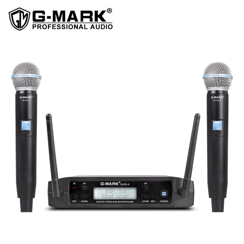 Wireless Microphone G-MARK GLXD4 Professional UHF Dual System SM58 Dynamic Handheld Mic DJ Speech Wedding Band Church Show Party