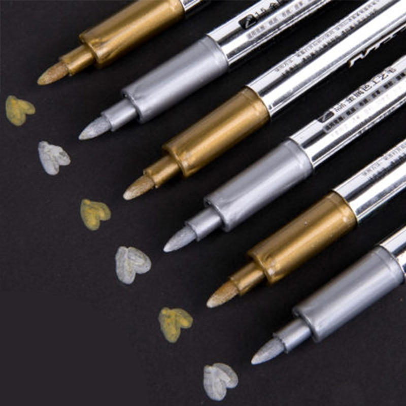 AliExpress - 4pcs/lot Permanent Marker Art Metalic Marker Pens Gold Silver Highlighter Pens for Paper Photo Album Fabric Steel Paint Markers