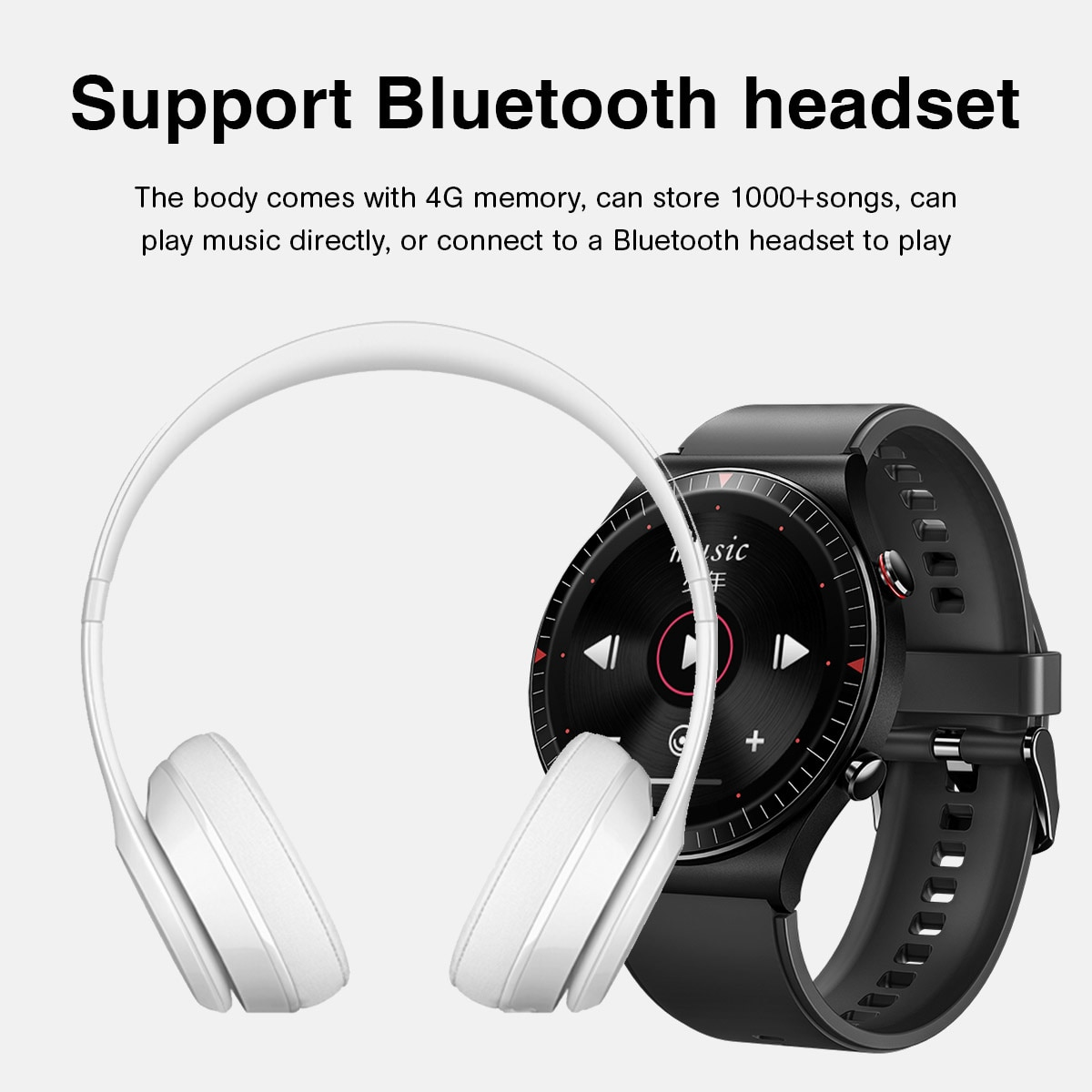 Sport Music Smart Clock Men 4G Memory Recording Function Bluetooth Call Full Touch Fitness Tracker Smartwatch For Android IOS enlarge