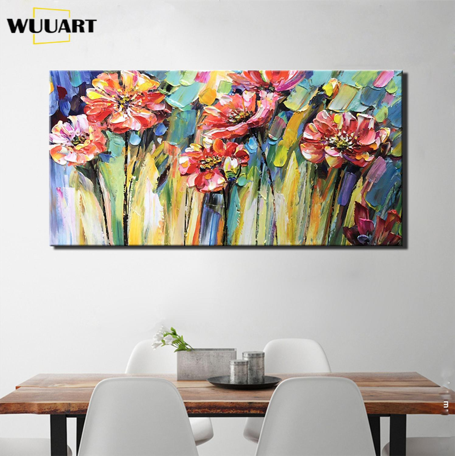 Hand-Painted Flower Oil Painting On Canvas Abstract Art Knife Paintings Modern Home Hotel Office Interior Decor Wall Art picture