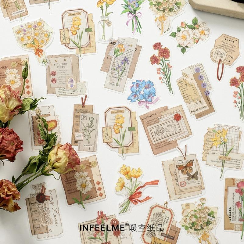 adhesivo-de-papeleria-kawaii-vintage-planificador-diario-de-aventuras-florales-diario-de-basura-pegatina-para-manualidades-30-uds-1-lote
