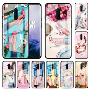 High Heeled Shoes Girl Women Glass Cover For Oneplus Nord 8 7 7T Pro 5G Z 7Pro 7TPro Black Silicone Edge Capa Phone Tampa Cases