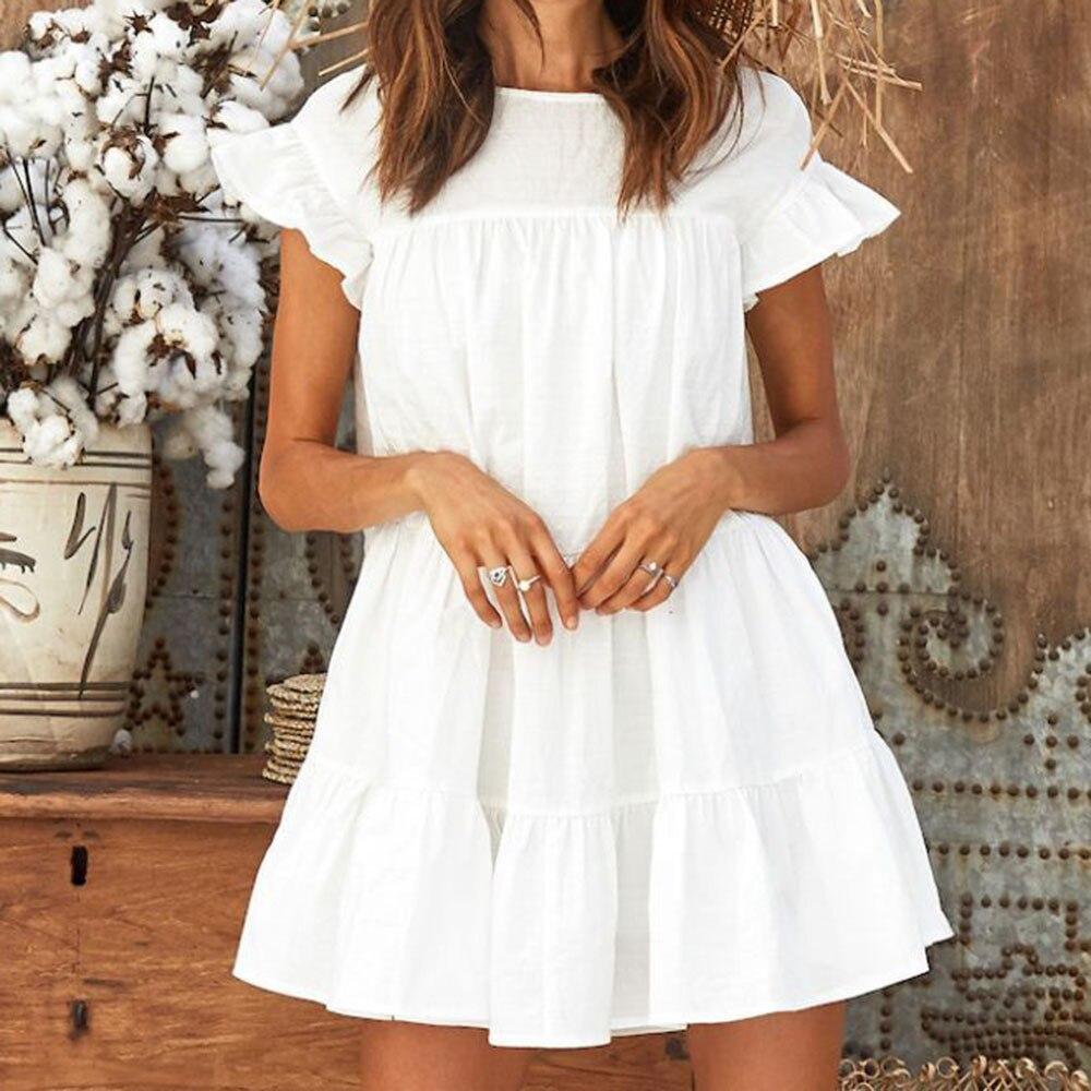 Women Solid Mini Diress Ruffles Short Sleeve White Dress Beach Party Night Dresses Robe Femme Vestidos Sukienka Damska Fashion
