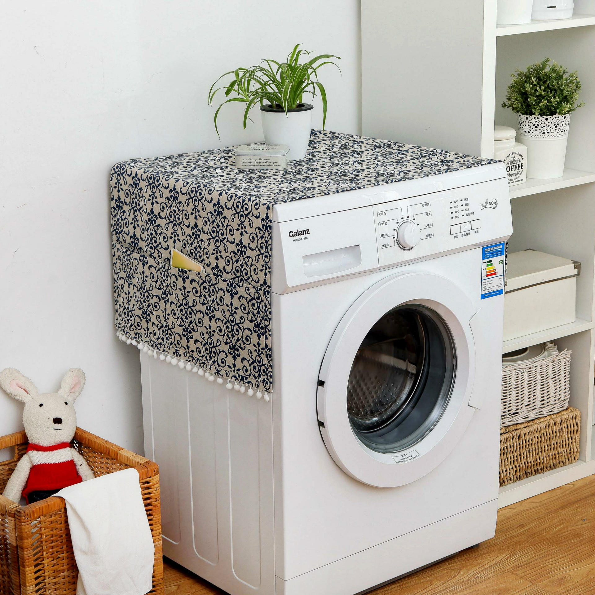 1pcs Geometric Refrigerator Cloth Single Door Refrigerator Dust Cover Pastoral Double Open Towel Washing Machine Cover Towel enlarge