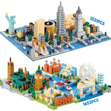 Statue de la liberté de New York Mini blocs de diamant Architecture de la ville le pont de la tour de londres modèle de bricolage blocs de construction jouets pour les enfants