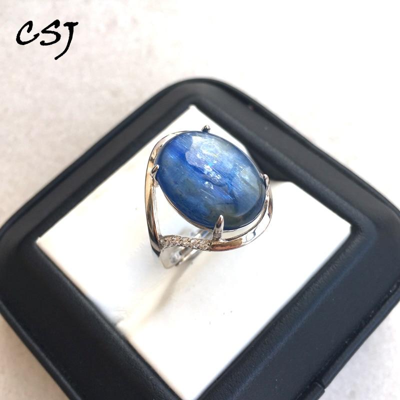 Las congregaciones cianita natural 925 anillos de plata esterlina Oval Corte 12*16mm de joyería fina de compromiso de boda de Biouterie para las mujeres dama regalo