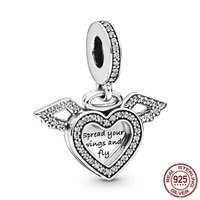 high quality 925 sterling silver heart and angel wings dangle charm beads fit original pandora bracelet silver 925 jewelry gift