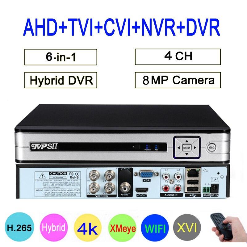 Cámara de vigilancia 8mp Panel plateado Hi3521D XMeye H265 + 4CH Audio Coaxial híbrido de 4 canales 6 en 1 16th TVI CVI NVR AHD CCTV DVR